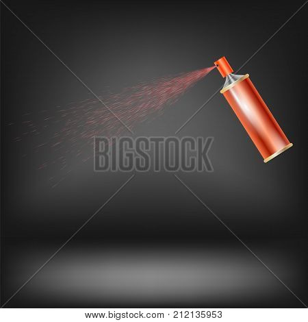 Red Spray Isolated on Grey Blurred Background