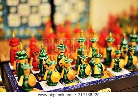 9 November 2013 Hand made souvenirs traditional chess Shah-i-Zinda - UNESCO World Heritage Samarkand Uzbekistan.