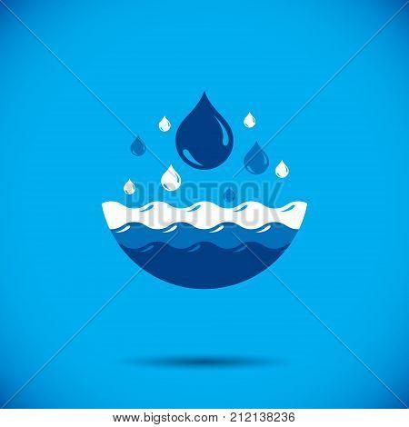 Global water circulation vector logo for use as marketing design symbol. Alternative medicine concept.