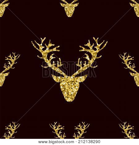 Gold Glitter Deer Head with Branched Horns Seamless PAttern on Black Background