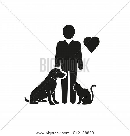 Icon of man loving cat and dog. Animals help, sheltering, rescue. Volunteering concept. Can be used for topics like charity, helping, donation.