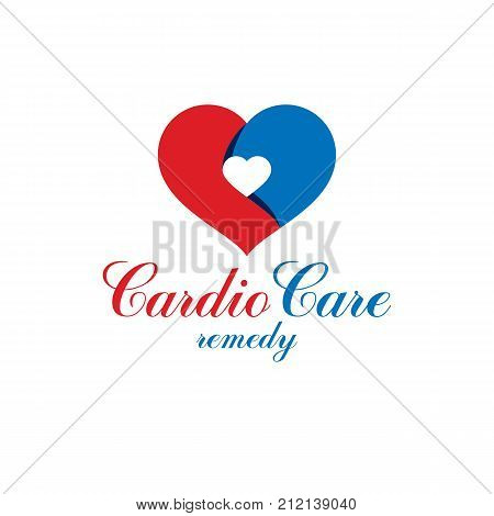 Vector illustration of heart shape. Cardiovascular system diseases prevention conceptual logo for use in pharmacy.