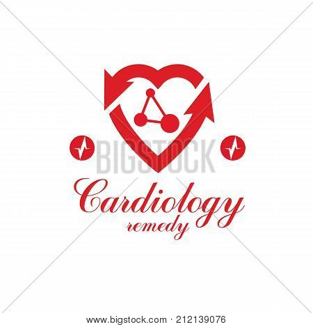 Cardio vector abstract logo made with red heart shape and an ekg chart. Cardiology medical support center conceptual emblem.