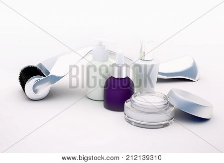 poster of Derma roller for medical micro needling therapy with glass vials moisturizer serum on light background.Tool also known as: Dermaroller mesoroller meso-roller mesopen. 3D illustration