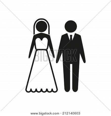 Groom and bride vector icon. Costumes, couple, ceremony. Wedding concept. Can be used for topics like marriage, love, family.