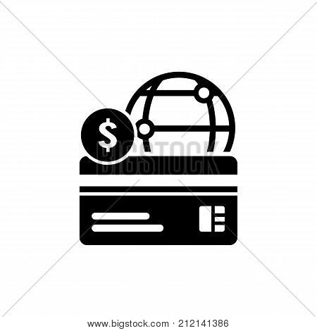 Illustration of credit card and globe. Payment, Internet, service. Bank card concept. Can be used for topics like finance, bank, online payment