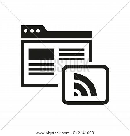 Rich site summary vector icon. Internet, web feed, news. Blogging concept. Can be used for topics like media, news, online content.