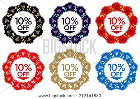 10 Off Discount Sticker. Set Of Banner Design With 10 Off