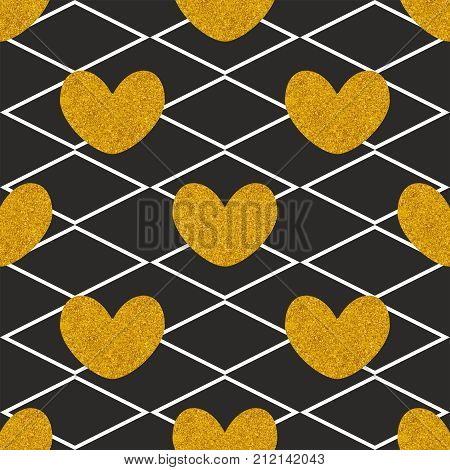 Tile quilted vector pattern with golden hearts on black background