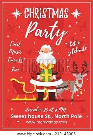 Vector cartoon style party poster with Santa Claus holding a Christmas and New Year present and a reindeer with a sleigh on red background.