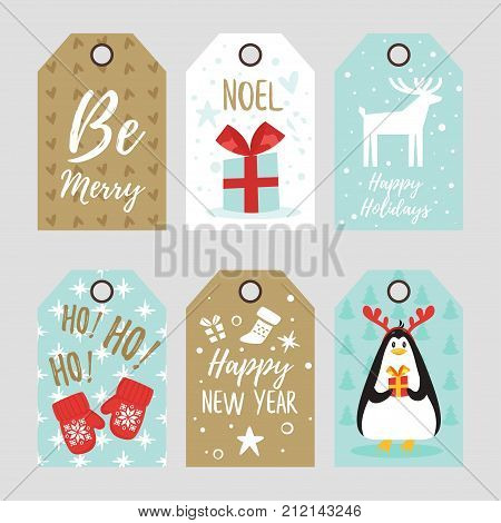 Vector cartoon style set of Christmas and New Year tags with cute holiday characters and symbols: penguin with reindeer horns, mittens and present.