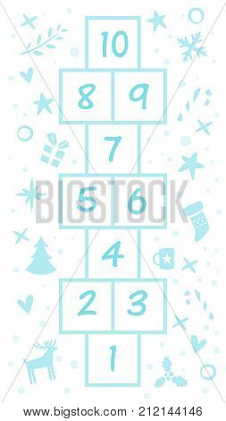 Vector cartoon style illustration of kids New Year Hopscotch game with Christmas holiday symbols template. For print.
