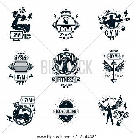 Set of vector gym theme emblems and motivational banners composed with dumbbells barbells kettle bells sport equipment and bodybuilder body shapes.