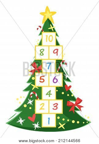 Vector cartoon style illustration of kids New Year Hopscotch game with Christmas pine tree template. For print.