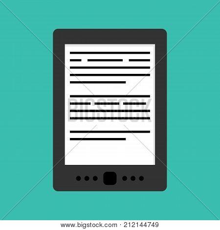 E-book or electronic book flat design vector icon, illustration.