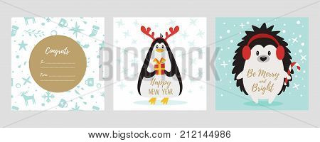 Vector cartoon style set of Christmas and New Year greeting card with cute penguin wearing deer horns and hedgehog holding candy cane.