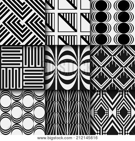 Black And White Seamless Patterns Set In Art Deco Style. Template For Design. Vector Illustration Ep