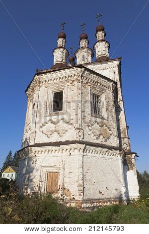 Abandoned temple of the Resurrection in Varnitsy Totemsky District, Vologda Region, Russia