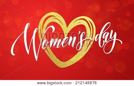 Women Day Gold Glitter Heart 8 March Greeting Card