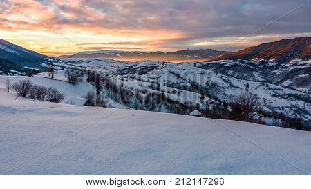 Gorgeous Morning In Mountainous Winter Countryside