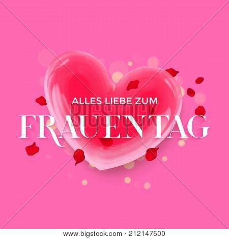 Women Day German Frauentag 3D Heart Greeting Card