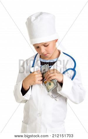 Temptation by money in modern medicine. Doctor with a bribe.