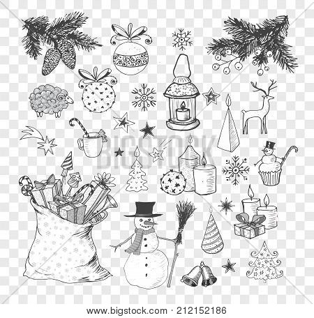 Set of hand-drawn sketchy christmas elements. Doodle sketch vector illustration. Candles, gift boxes. snowmen, pomanders