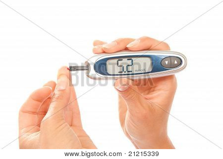 Diabetes Patient Measuring Glucose Level Blood Using Glucometer Test