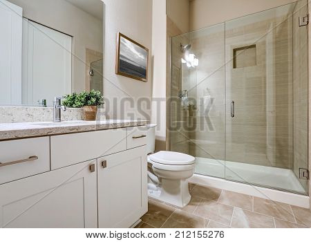 Transitional Bathroom Interior Design In Soft Beige Colors