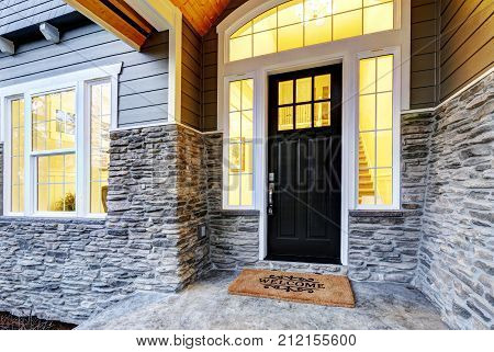 Front Covered Porch Design With Stone Columns