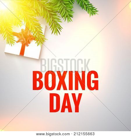 Boxing day design illustration. Christmas boxing day background with branches and box.