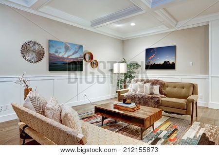 Lovely Craftsman Style Living Room With Coffered Cealing