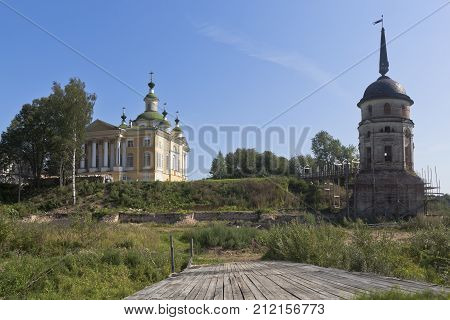 Cathedral Ascension of the Lord and South-western tower Spaso Sumorin monastery in the town of Totma, Vologda Region, Russia