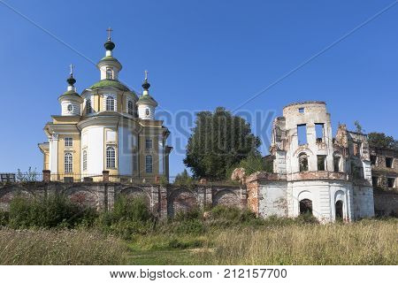 View of the Cathedral Ascension of the Lord and the ruins of the Assumption Church Spaso-Sumorin monastery in the town of Totma, Vologda Region, Russia