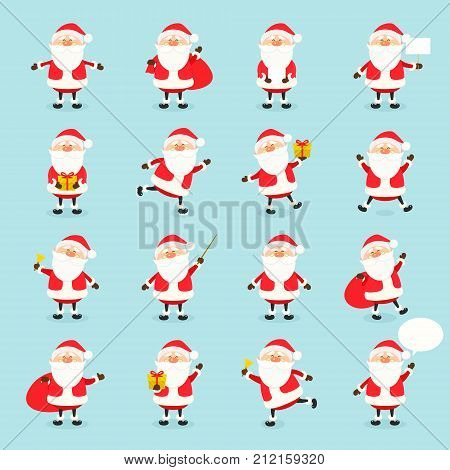 Cute vector Santa Claus icon set in flat style, christmas collection, xmas and New year character in different poses. Funny Santa with different emotions. Design template in EPS10.