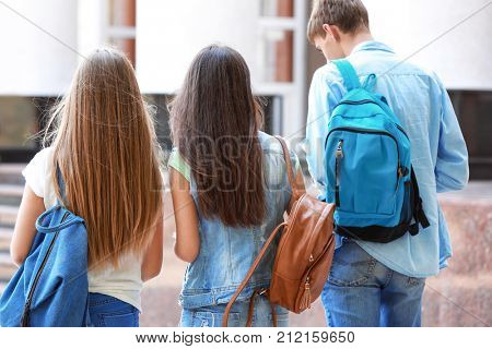 Students going to school together