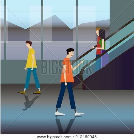 People Passengers Airport Hall Departure Terminal or Shopping Mall Interior Moving Staircase Flat Vector Illustration, Poster