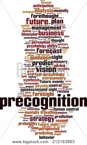 Precognition word cloud concept. Vector illustration on white
