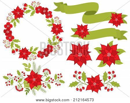 Vector Christmas and New Year set with poinsettia, floral wreath, bouquets, red berries and ribbons. Vector Christmas poinsettia. Christmas wreath and bouquets vector illustration