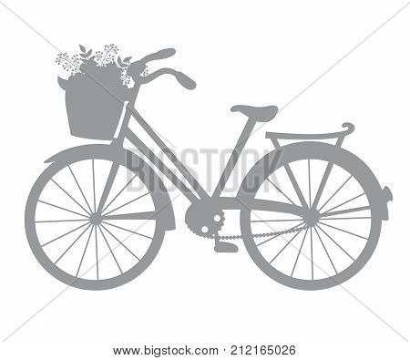 Vector silhouette of bicycle. Vector bicycle with basket of flowers. Bicycle silhouette vector illustration