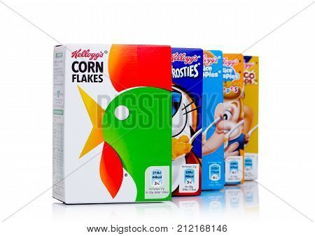 London, Uk - November 03, 2017: Boxes Of Kellogg's Cereals On White  Frosties Are A Popular Breakfas