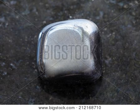 Polished Hematite Stone On Dark Background