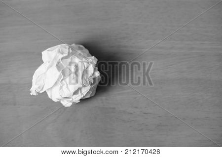 Crumpled paper ball rejection and failure idea.
