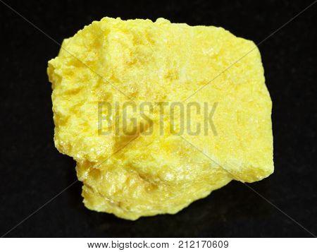 Rough Native Sulphur Stone On Dark Background