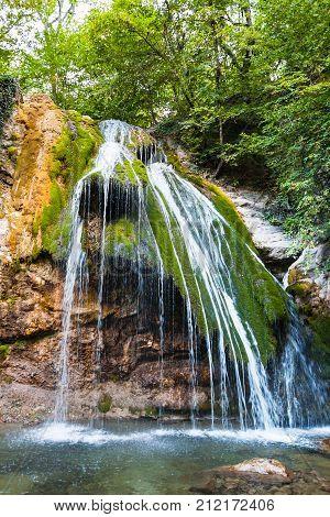 Djur-djur Waterfall In Haphal Gorge In Crimea