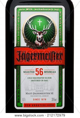 London, Uk - November 03, 2017: Label Of Jagermeister On White. German Digestif Made With 56 Herbs A