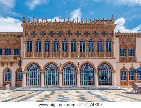 SARASOTA USA - APRIL 22 2016: Ringling's mansion Ca d'Zan modeled after the Doges Palace in Venice. Built by circus magnate John Ringling in 1924.