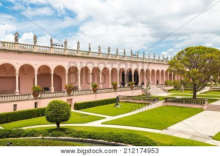 SARASOTA USA - APRIL 22 2016: John and Mable Ringling Museum of Art. State art museum of Florida located in Sarasota Florida USA.