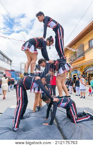 Panama november 2017 These equilibrium boys are performing at the parade of Panama Independence Day to celebrate the liberation of Spanish domination.