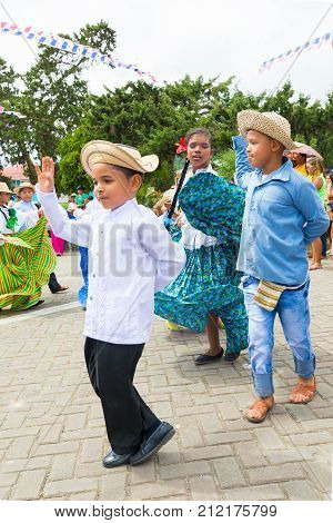 boquete panama November 2017 These little boys dressed in traditional clothes dance at the parade of Panama Independence Day to celebrate the liberation of Spanish domination.